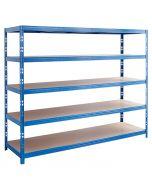 REGALUX MEGA - nagy teherbírású polc kék (5 polcos) 200x240x70cm
