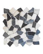 Törtmozaik (fehér-szürke-fekete mix, márvány, 30x30cm)