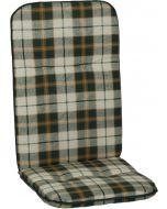 GARDEN SEAT CAPRI - magas támlás párna (48x115x5cm, zöld, kockás)
