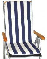 GARDEN SEAT CAPRI - magas támlás párna (114x47x5cm, kék, csíkos)