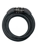 MASTERLOCK - acél kerékpár kábelzár 1,2mx8mm (fekete, fix kombinációval)