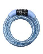 MASTERLOCK - acél kerékpár kábelzár 1,2mx8mm (kék, fix kombinációval)