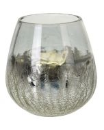 Mécsestartó (üveg, ezüst, 13cm)