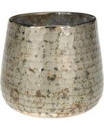 Mécsestartó (üveg, füstös réz)
