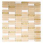FLIESEN CRYSTAL MIX - mozaik (fehér/arany mix, 32,2x31cm)