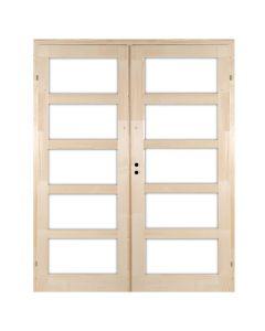 ZEBRA 5 - kétszárnyú beltéri ajtó 140x210 (mélyenüvegezhető-jobb-pallótokos)