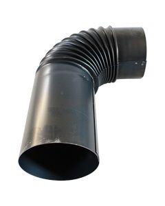 Füstcső - fekete, hosszabítóval (Ø130mm, 90°)
