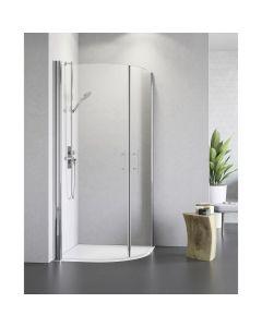 CAMARGUE VARIO S10 - zuhanykabinszett (ezüst, íves, 90x90x195cm)