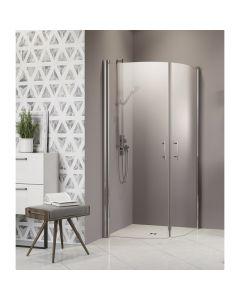 CAMARGUE VARIO S11 - zuhanykabinszett (ezüst, íves, 100x100x195cm)