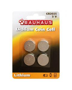 BAUHAUS - lítium gombelem (CR2025, 3V, 4db)
