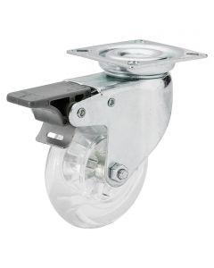 DÖRNER&HELMER - görgő (forgó, 40kg, 50mm, fékezhető, áttetsző)