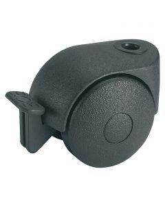DÖRNER&HELMER - görgő (dupla, 20kg, 40mm, fékezhető, fekete)