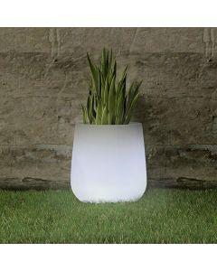 CAMELIA - világító kaspó (Ø33cm, fehér, LED)