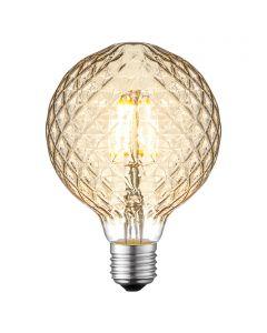 LED-fényforrás (E27, 4W, G95, üveg, borostyán)