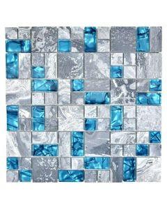 FLIESEN CRYSTAL MIX XCM MC589 - mozaik (szürke/kék, 30x30 cm)