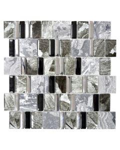 FLIESEN MULTIFORMAT CRYSTAL MIX - mozaik (fekete/szürke mix, 29,8x29,8cm)