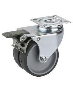 DÖRNER&HELMER - görgő (dupla, 80kg, 50mm, fékezhető, szürke)