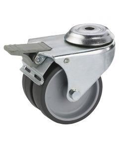 DÖRNER&HELMER - görgő (dupla, 80kg, 50mm, lyukas, fékezhető)