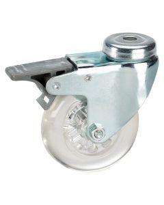 DÖRNER&HELMER - görgő (forgó, 40kg, 50mm, lyukas, fékezhető, áttetsző)