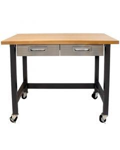 Munkaasztal 2 fiókkal és kerekekkel (122x61x95cm)