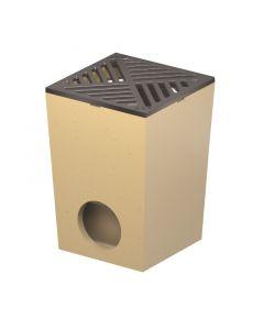 ACO SELF - udvari lefolyó öntöttvas ráccsal (polimerbeton, 25x25cm)