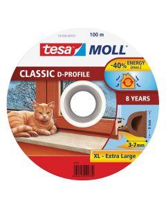 TESA MOLL - ajtó- és ablaktömítő szalag (D-profil, barna, 100m:9mm)