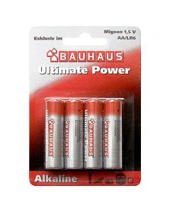 BAUHAUS ULTIMATE POWER - alkáli elem (AA, 1,5V, 4db)