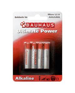 BAUHAUS ULTIMATE POWER - alkáli mikroelem (AAA, 1,5V, 4db)