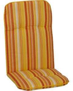 GARDEN SEAT CAPRI - magas támlás párna (114x47x5cm, sárga, csíkos)