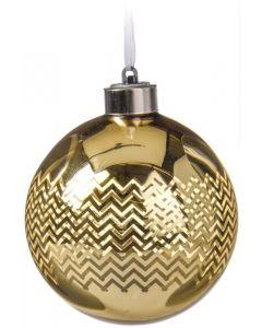 Világító üveggömb (LED, üveg, Ø8cm, arany, 4féle)