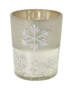 Mécsestartó (üveg, hópehelymintás, 8cm)