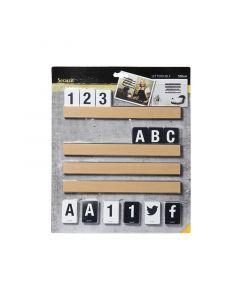 SECURIT - fali betűtartó betűkkel és számokkal (100x2,5cm, tölgy)