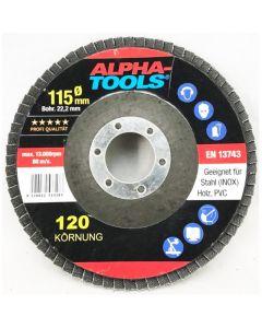ALPHA TOOLS - lamellás csiszolókorongszett (115mm, K40,K60,K80,K100,K120)