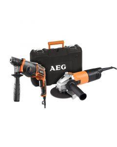 AEG JP240B2C ERŐCSOMAG - kombi fúrókalapács és sarokcsiszoló (115mm)