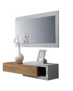 FORÉS HABITAT NOON - előszobabútor tükörrel (fehér-dió)