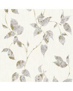 A.S. CREATION FLAVOUR - tapéta (levelek, szürke-arany)