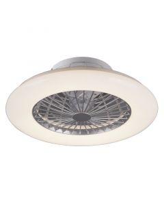 REALITY STRALSUND - mennyezeti ventilátor világítással (LED, Ø50cm, fehér-ezüst)