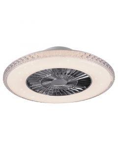 REALITY HARSTAD - mennyezeti ventilátor világítással (LED, Ø60cm, fehér-króm-kristály)