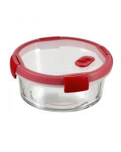 CURVER SMART COOK - üveg ételtartó (kerek, 0,6L, átlátszó-piros)