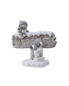 Dekorfigura (hóemberek Welcome táblával, 40cm)